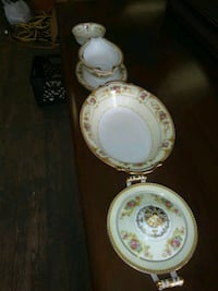 white and pink floral ceramic dinnerware set Lincoln, 02838