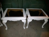 2 white wooden glass top side tables.  Whitby, L1N 9E2
