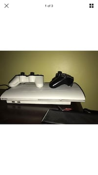 White sony ps3 super slim with two controllers screenshot Manchester, 06040