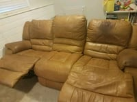 brown leather 3-seat recliner sofa Parker, 80134