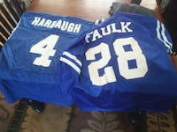two white-and-blue Faulk 28 Harbaugh 4 jersey shir Omaha, 68106