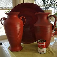 Large rust-red platter to decanters great timing f