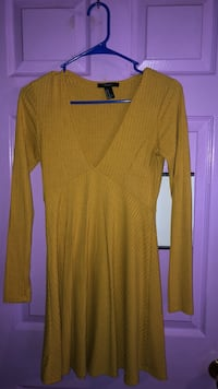 Yellow plunge drop dress