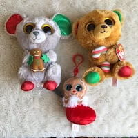 Ty Beanie Boo Holiday Lot Mouse Bear Gingerbread Christmas Plush Toys