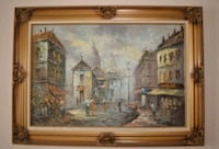 VINTAGE LARGE SIZE STREET OIL PAINTING Whitby