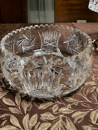 "Vintage Crystal large vase, beautifully carved 9"" diameter  TORONTO"
