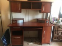 brown wooden computer desk with hutch Falls Church, 22042