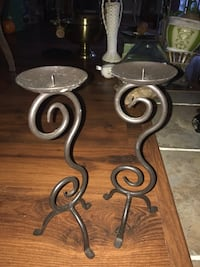 two black metal candle holders Charlotte