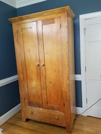 Antique Pine ARMOIRE Wardrobe Late 1800s