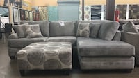 Grey color microfiber sectional.