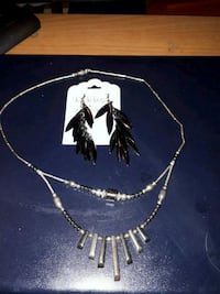 Black and silver necklace set 3167 km