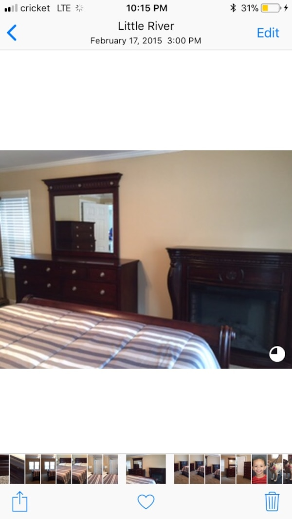 Beautiful 8 piece solid wood queen sized bedroom set including2 nightstands  full dresser w/ mirror mans chest w/ locking top compartment felt lined ...