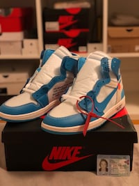 Off White x Nike Air Jordan 1 UNC Hosle, 1362
