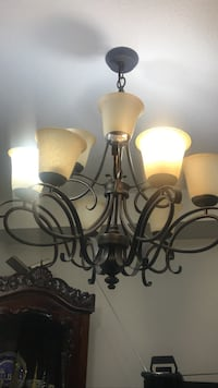 White glass shade uplight chandelier Hamilton, L0R 1P0