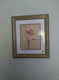 brown wooden framed painting of white flower Garland, 75044