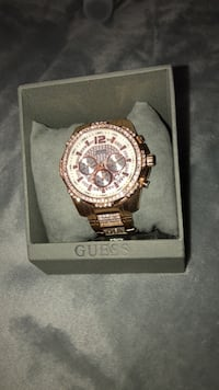 Rose gold and diamond guess watch