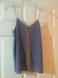 gray and brown floral spaghetti strap top