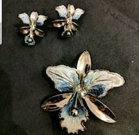 Rare Vintage Blue Orchid pin and earring Rockville, 20850