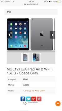 iPad Air eş-fi 16 gb space gray Gaziosmanpaşa, 34245