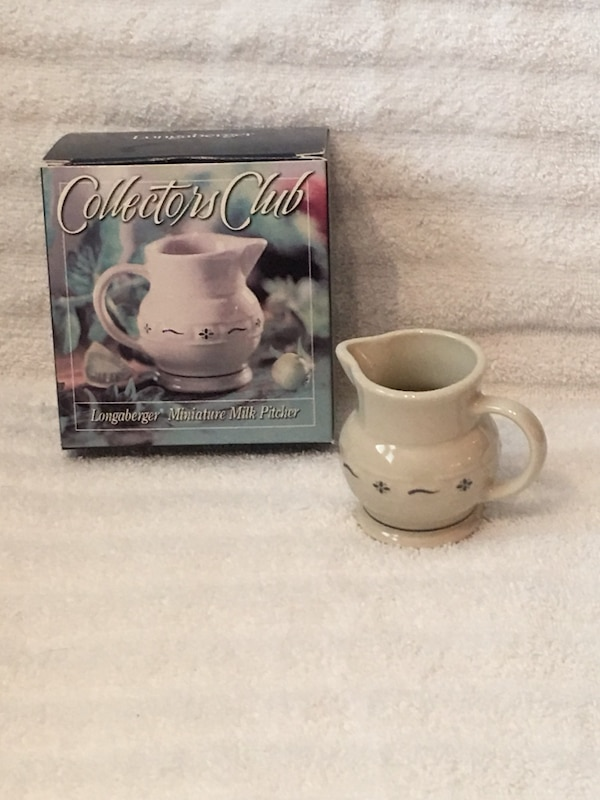 Longaberger Collectors Club Pottery—Miniature Milk Pitcher—New in Box