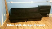 Black futon with storage drawers  Frederick, 21702