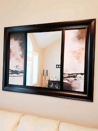 Wood frame mirror in middle paint on both side pic