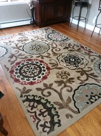 white, brown, and black floral area rug Union Beach, 07735