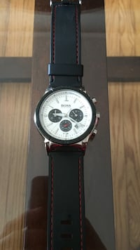 round silver chronograph watch with black leather strap Dundas, L9H 0B7