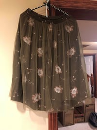 BRAND NEW, Army Green Floral Skirt with Mesh, Original Tags Grimsby