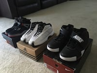 three assorted-color of Nike and Air Jordan shoes with boxes