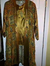 3 piece gold suit African Attire 3/4 length jacket Severn