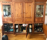 brown wooden cabinet with hutch East Northport, 11731