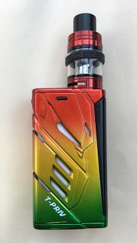 Red, yellow, and green t-priv box mod vape