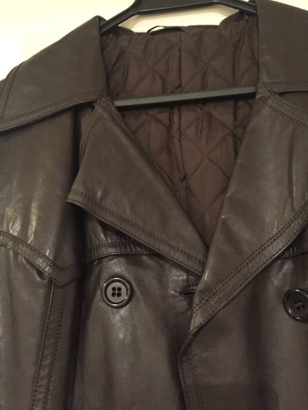 Long leather jacket with belt 500ab416-7974-4eee-add1-562b5dc31814