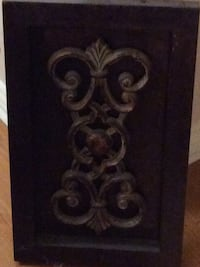 scrolled black floral metal wall decor