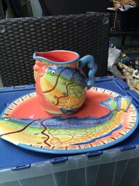 Ceramic hand painted Tray and jar, decor and serving