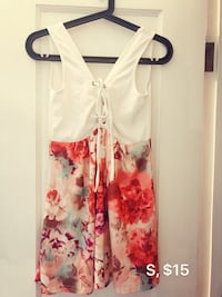 white and red floral spaghetti strap dress Vancouver, V5S 0A8