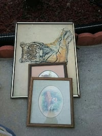 three tiger painting with brown wooden frame Conyers, 30094