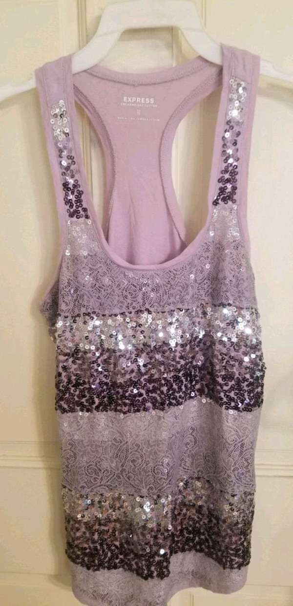 895c611fa74cb3 Used Women s Express Purple Sequins   Lace Tank Top XS for sale in Hopewell  Junction - letgo
