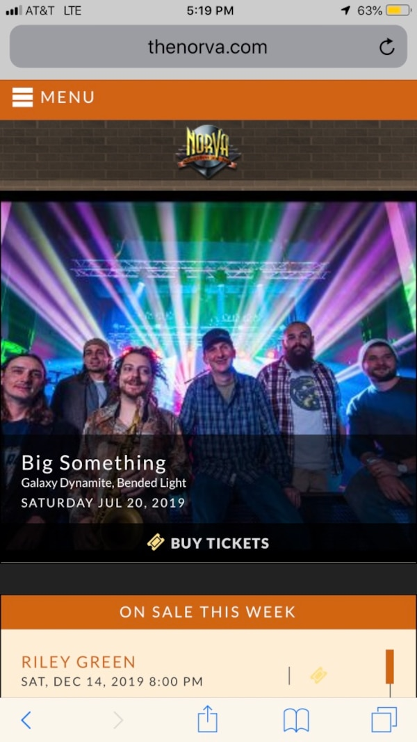 2 tickets to Big Something at the Norva