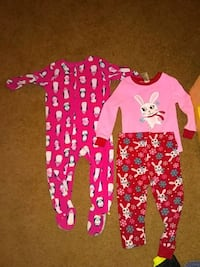 baby's two pink and white footie pajamas Palm Springs, 92262