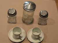 Sugar, Salt & Pepper Shakers / Two Espresso cups & saucers CENTERMORICHES