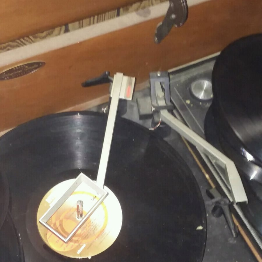 Antique record player and several records