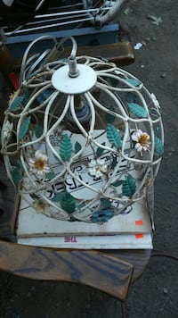 Vintage metal wire light fixture