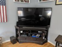 "60"" TV, Corner Stand, and Sound Bar WASHINGTON"