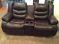 Black leather theater sofa, loveseat, rocker Lancaster, 01523