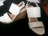 brown and white ankle strap wedges Big Prairie, 44611