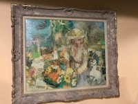 Lady oil painting in a carved wood frame Fair Lawn, 07410