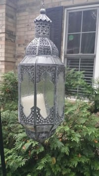 Glass metal antiqued hanging lantern large  Streamwood
