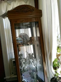 brown wooden framed glass display cabinet Chicago, 60641